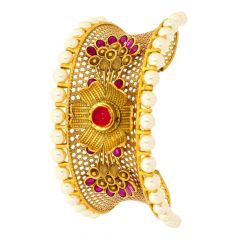 Glossy Antique Finish Floral Filigree Design Studded With Synthetic Kundan Pearl And Colour Stone Gold Bracelet