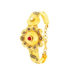 Antique Enamel Floral Kundan Adjustable Cuff Bracelet