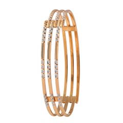 Glossy Diamond Cut Curved Gold Bangles - MB10