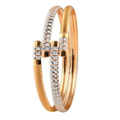 Matte Glossy Diamond Cut Curved Gold Bangles - MB11
