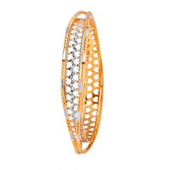 Glossy Diamond Cut Heart Filigree Gold Bangles - MB16