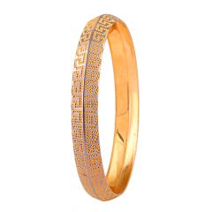 Glossy Diamond Cut Engraved Design Gold Mens Gold Kada - MB28