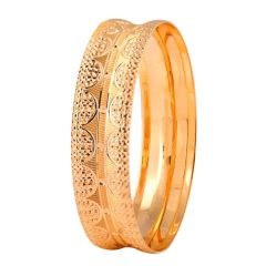 Glossy Diamond Cut Finish Engraved Design Gold Bangles - MB8