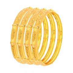 Traditional Textured Embossed Gold Bangle (Set Of Four)