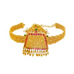 Ceremonial Textured Peacock Gemstone Gold Armlet
