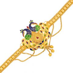 Traditional Enamel Peacock Textured Gold Armlet