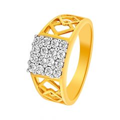 Glitter CZ Cutout Diamond Ring