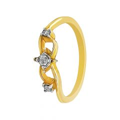 Elegant Three Diamond Gold Ring