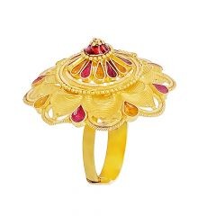 Traditional Enamel Dome Floral Gold Ring