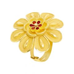 Blooming Enamel Floral Adjustable Gold Ring