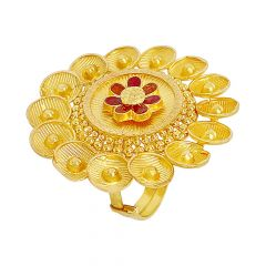 Blossom Textured Enamel Adjustable Floral Gold Ring