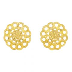 Classic Textured Cutout Floral Stud Gold Ring