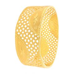 Ceremonial Textured Cutout Gold Bangle