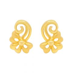 Glitz Swirl Floral Gold Stud Earrings