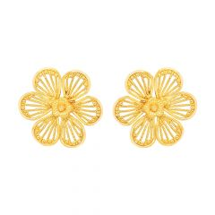Blooming Cutout Floral Gold Earrings