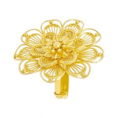 Blossoming Layered Cutout Floral Adjustable Gold Ring