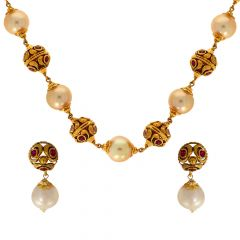 Antique Pearl Bead Gemstone Gold Necklace Set