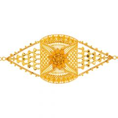 Traditional Cutout Textured Floral Gold Bracelet