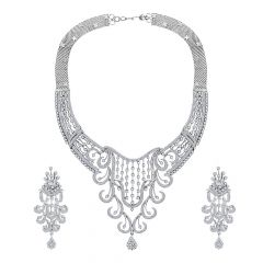 Ravishing Swirl Dangler Diamond Necklace Set