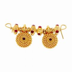 Elegant Gold Bead Embossed With Red Stone Studded Tanmaniya-MS2993