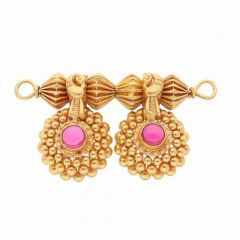 Embossed Gold Bead With Pink Stone Studded Dauli Tanmaniya Pendant-MS3003