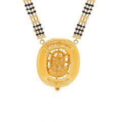 Filigree Laxmi Design Tanmaniya Three Layer Black Beads Mangalsutra