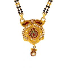 Meenakari Traditional Design Tanmaniya With Two Layer Black Beads Mangalsutra