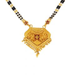Matka Design Filigree Floral Design Gold Tanmaniya With Two Layer Mangalsutra