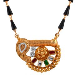 Glossy Glittering Red Green With CZ Stone Kundan Textured Gold Mangalsutra - MS58