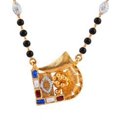 Satin Glittering Red Blue With CZ Stone Kundan Textured Curved Gold Mangalsutra - MS60