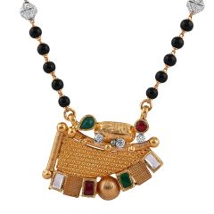 Matte Satin Glittering Red Green With CZ Stone Kundan Textured Curved Gold Mangalsutra - MS62