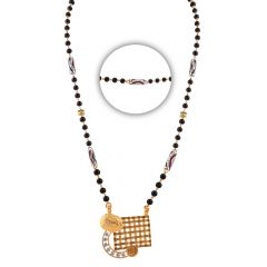 Glossy Finish Nugget With Net Cluster CZ Gold Mangalsutra - MS63