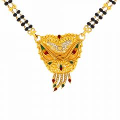 Meenakari Traditional Drop Design Tanmaniya With Two Layer Black Beads Mangalsutra