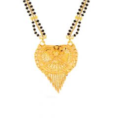 Filigree Leafy Design Drop Chain Tanmaniya With Two Side Black Beads Center Gold Chain Managalutra