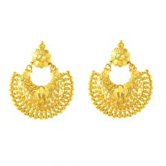 Glossy Finisg Filigree Floral Chandbali Design Gold Earrings