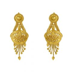 Glossy Finish Drop Raw Design Gold Earrings