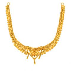 Glossy Finish Traditional Design Gold Necklace-N-6939