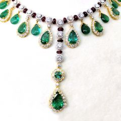Pear Drop Dangler Emerald Design Rich Look Diamond Necklace With Ruby Beads