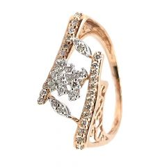Glittering Twisted Cocktial Design Diamond Ring