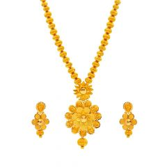 Engraved Diamond Cut Glossy Finish Floral Gold Necklace Set-N3302-SE1811