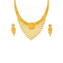 Glossy Finish Filigree Layer Wave Embossed Textured Floral Gold Necklace Set -N3324-SE1815