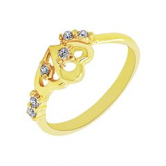 Trendy Dual Heart CZ Gold Ring