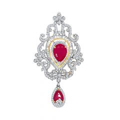 Traditional Fancy Shape Gemstone CZ Gold Pendant