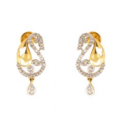 Peocock Design Studded Diamonds With Pear Drop Earrings With Rhodium Plated