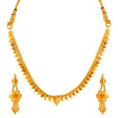 22kt Gold Leafy Floral  Drop Gold Ball Design Necklace Set - N988-SE731