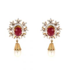 Floral Design With Drop Pear Design Diamond Studded Earrings With Studded Stone