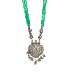 Silver Pendants With Balls Natural Emerald String