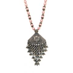 Ethnic Silver Pendant With Natural Pink Pearls From Swarovski