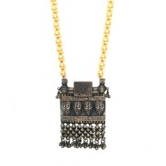 Ethnic Silver Pendant With Natural Golden Pearls From Swarovsk