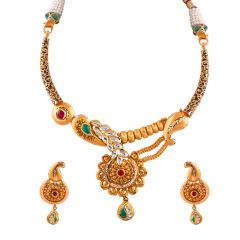 Matte Antique Finish Embossed Design Multicolour Stone With Kundan Floral Necklace Set - NCK148